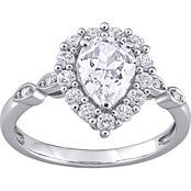 10K White Gold 2 3/8 CTW Created White Sapphire and Diamond Pear Halo Ring Size 7