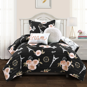 Lush Decor Vintage Paris Rose Butterfly Script 5 pc. Quilt Set