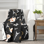 Lush Decor Vintage Paris Rose Butterfly Script Throw
