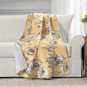 Lush Decor French Country Toile Cotton Reversible Throw