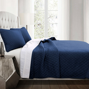 Lush Decor Ava Diamond Oversized 3 pc. Cotton Quilt Set