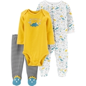 Carter's Infant Boys Dinosaur Bodysuit and Footed Pants 3 pc. Set