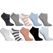 Steve Madden Women's Low Cut Rugby Multi Striped Socks 10 pk.