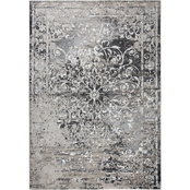 Rizzy Home Panache Taupe Central Medallion Scroll Work Distress Rug