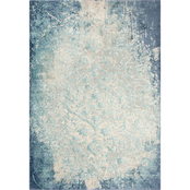 Rizzy Home Chelsea Teal Damask Area Rug