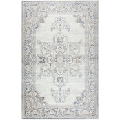 Rizzy Home 63 x 90 in. Panache Natural Medallion Distress Rug