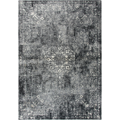 Rizzy Home Panache Gray Central Medallion Floral Area Rug