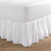 Laura Ashley Crochet Ruffle White Ruffled Bed skirt