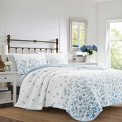 Laura Ashley Flora Blue Quilt and Sham Set