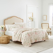 Laura Ashley Breezy Floral Pink Cotton Quilt Set