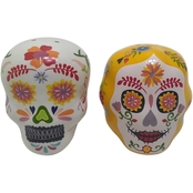 Gibson Home Day of the Dead Calavera Santiago and Camlia Salt and Pepper Shakers