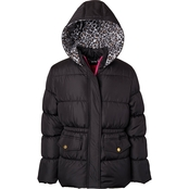 Pink Platinum Little Girls Cheetah Lined Printed Puffer Jacket