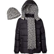 Pink Platinum Little Girls Solid Cheetah Puffer Jacket