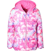 Pink Platinum Little Girls Tie Dye Printed Puffer Jacket