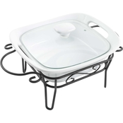 Gibson Home Nobel Heritage Square Casserole Dish with Lid and Stand