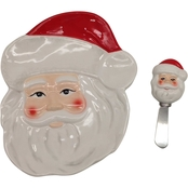 Gibson Home Santa Train Santa Face Figural Plate with Spreader