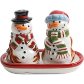 Forest Snowman Salt and Pepper Shakers with Tray