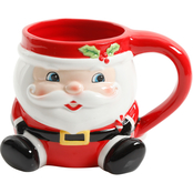 Gibson Home Jolly Jar Santa Holding Candy Cane 20 oz. Mug