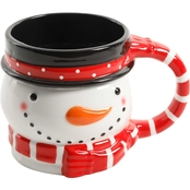 Gibson Home Jolly Jar Red Scarf Snow Ball 21.6 oz. Mug