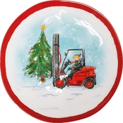 Gibson Home Bulldozer Santa Lift 8 in. Melamine Snack Plate