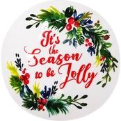 Gibson Home Christmas Sentiments It's the Season to be Jolly 8 in. Snack Plate
