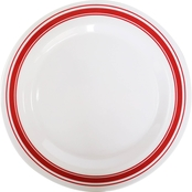 Gibson Home Bulldozer Santa 11.25 in. Melamine Dinner Plate