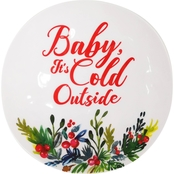 Gibson Home Christmas Sentiments Baby It's Cold Outside 8 in. Snack Plate