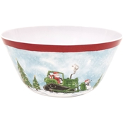 Gibson Home Bulldozer Santa 10 in. Melamine Serving Bowl