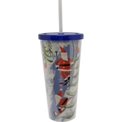 Gibson Home Santa 24 oz. Tumbler with Straw