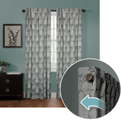 Maytex Zenna Home Smart Curtains Ultimate Light Blocker Linen Damask Window Curtain