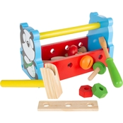 Hey! Play! Kids Wooden Toy Toolbox 14 pc. Tool Set