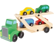 Hey! Play! 2 Level Loader Transporter Wooden Semi Truck Toy with Cars