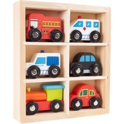 Hey! Play! Mini Wooden Car 6 pc. Toy Set