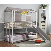 Furniture of America Oscar Twin / Twin Metal Bunk Bed with Slide