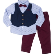 Little Lad Infant Boys Herringbone Mock Vest, Shirt and Pants 3 pc. Set