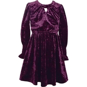 Bonnie Jean Girls Crushed Velvet Smocked Dress