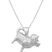 Animal's Rock Sterling Silver Accent Diamond Chow Chow Dog Pendant