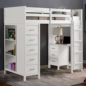 Furniture of America Cassidy Twin Loft Bed with Drawers