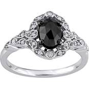 Diamore 14K White Gold 1 CTW Black and White Diamond Engagement Ring