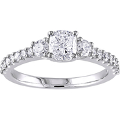 Diamore 14K White Gold 1 1/5 CTW Diamond Cushion Cut 3 Stone Engagement Ring