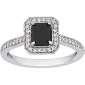 Diamore 10K White Gold 1 1/4 CTW Black and White Diamond Emerald Cut Ring