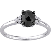 Diamore 14K White Gold 1 CTW Black and White Diamond Oval Engagement Ring