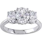 18K White Gold 1 1/2 CTW Diamond Oval Cut 3-Stone Engagement Ring