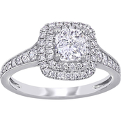 Diamore 14k White Gold 1 1/2 CTW Diamond Cushion Cut Double Halo Engagement Ring