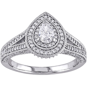 Diamore 14K White Gold 1 CTW Diamond Pear Cut Split Shank Halo Engagement Ring