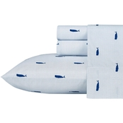 Nautica Whale Stripe Blue Sheet Set