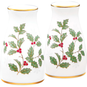 Noritake Holly and Berry Gold Salt and Pepper Shakers Set