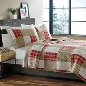Eddie Bauer Camano Island Plaid Plum Wine Quilt Set