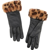 New York Accessory Leopard Faux Fur Leather Gloves