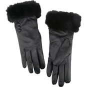 New York Accessory Faux Fur Trim Leather Gloves